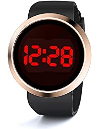 WMWMY Pantalla Táctil Reloj de Dama Moda Hombre de Banda de Caucho Negro LED Reloj Digital