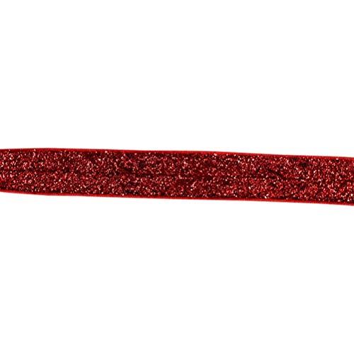 SUPVOX 30 Yards Glitter elastische Stretch-Samtbänder für Haargummibänder Haarband Kleidung (rot)