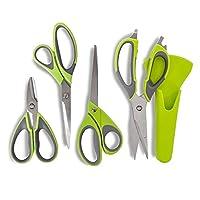 Multi Purpose 4 Pieces: Tower Health T80442 Multi-Purpose Scissor Set with Carbon Enforced Blades, Green
