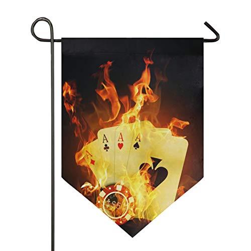 DEZIRO Garten-Flagge Casino Poker gelb Feuer vertikal doppelseitig Yard Decor bunt Design für alle Jahreszeiten & Urlaub, Polyester, 1, 28x40in
