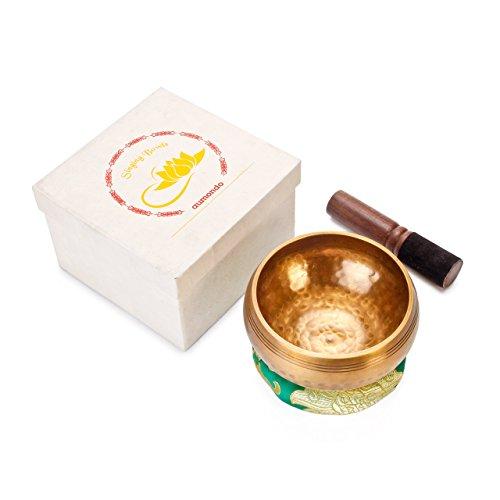Original Tibetische Klangschale 12cm. Klangschalen Set mit Klöppel und Klangschalenkissen in Loktapapier Geschenk-Box. Singing Bowl aus Tibet - 2