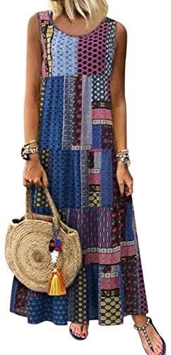 SZIVYSHI Ohne Arm Ärmelloser Barock Ethnisch Stammes Afrikanische Aztekisch Geometrisch Plissee Plissiertes Langes Lange Lang Maxi Maxikleid Hängerkleid Trapez Mutterschaft Kleid Blau XL -