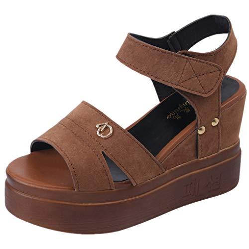 Damen Keilsandaletten Bast Plateau/Dorical Frauen 10cm Wedges Bequeme Sandalen | Plateau Sandalette | Party Schuhe | Damenschuhe Sandalen & Sandaletten Keilsandaletten 35-39 EU(Khaki,39 EU)