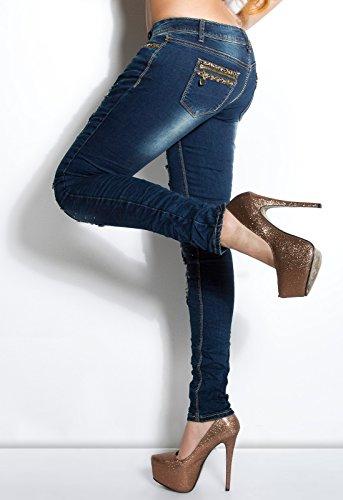Sexy KouCla Skinny-Jeans mit Leo-Strasssteinen Koucla by In-Stylefashion SKU 0000K600-11301 Blau