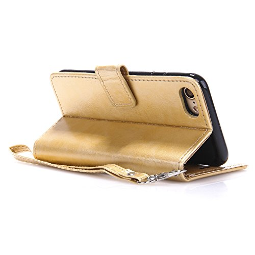 Cozy Hut® Ultra Schlank Folio Handyhülle / für iPhone 7 (4.7 zoll) Cover / Case / Bumper Hülle Schutzhülle / Rückdeckel Schutzhülle / Handy Hülle / Ultra-thin soft shell / Strass Bräunung Stil Blau Go golden