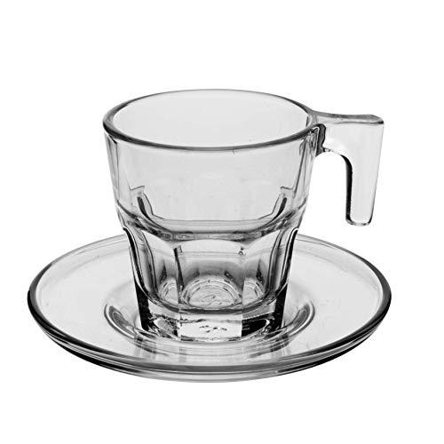 Pasabahce - 1611183 - Casablanca Espresso Cups with Saucer / Set of 12 / Transparent glass