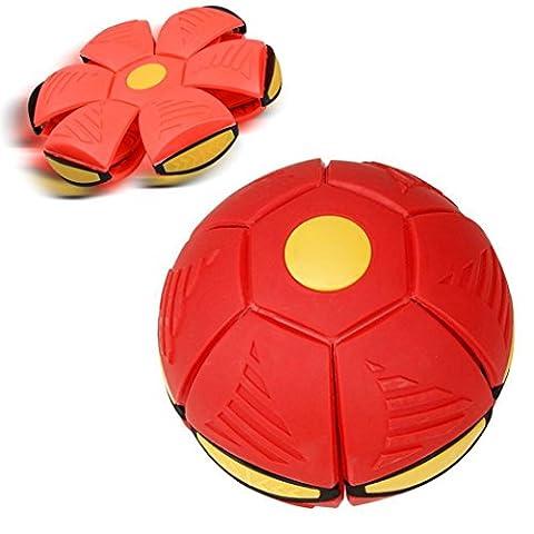 Jaminy Magic Flying UFO déformation Ballon de football Soccer Magic Flying Jeté de plat Ballon de football jouet Jeu Jardin extérieur Jeu de plage Jouets, Red