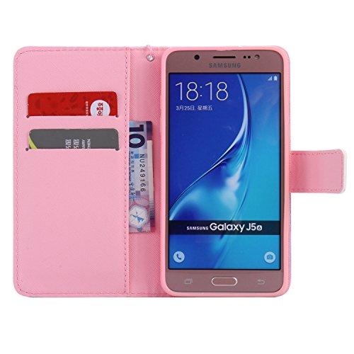 """PU Coque Galaxy J5 (2016) J510FN 5.2"""", Multifonction Case Wallet Cover Etui en cuir Étui de protection flip Wallet stand Cover avec des fentes de cartes pour Samsung Galaxy J5 (2016) J510FN 5.2"""" +Bouchons de poussière (2EE)"""