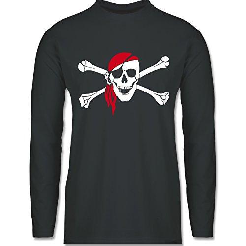Piraten & Totenkopf - Totenkopf Pirat Kopftuch - Longsleeve / langärmeliges T-Shirt für Herren Anthrazit