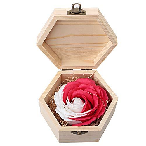 Geschenk, Mehrfarbig, handgefertigte Rose, duftende Seife, Blütenblätter Rosenblüten für Valentinstag, Hochzeit, Party, Geschenk-Box, Rot/Weiß, Free Size ()