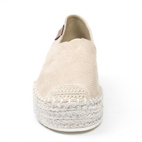 Ideal Shoes - Espadrilles effet reptile Helea Beige