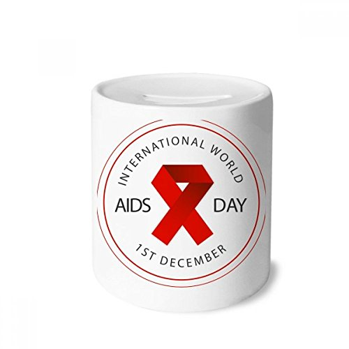 DIYthinker Rot Ribbon-AIDS-Tag HIV-Bewusstsein Solidarität Geld-Kasten Sparkassen Keramik Münzfach Kinder Erwachsene 3.5 Zoll in Height, 3.1 Zoll in Duruchmesser Mehrfarbig -