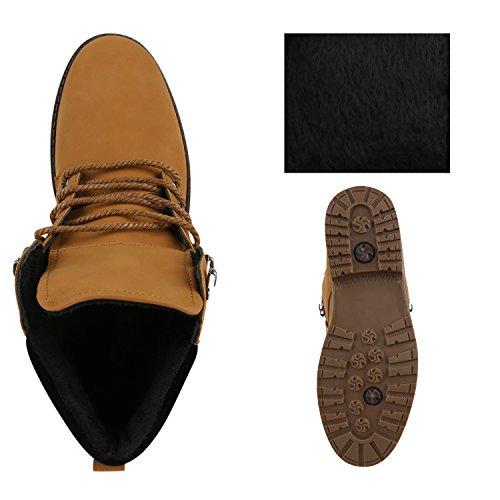 Stiefelparadies Herren Worker Boots Outdoor Schuhe Warm Gefüttert Profil Sohle Flandell Hellbraun Schwarz