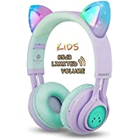 Riwbox CT-7S Auriculares Bluetooth con orejas de gato para niños, limitación de volumen a 85 dB, luz LED, inalámbricos con micrófono para iPhone/ iPad/Ordenador portátil/Pc/Televisión Púrpura&Verde