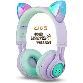 7fa578877ff Kids Headphones, Riwbox CT-7S Cat Ear Bluetooth Headphones Volume Limiting  85dB,LED Light Up Kids Wireless Headphones Over Ear with Microphone for ...
