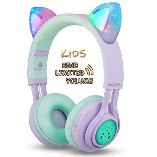 Kids cuffie, Riwbox ct-7s 85DB volume Limiting cuffie Bluetooth protezione acustica, LED light up Kids wireless cuffie over Ear con microfono per iPhone/iPad/Kindle/laptop/PC/TV Purple&Green