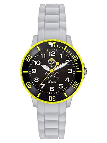 s.Oliver Jungen Analog Quarz Uhr mit Silikon Armband SO-3200-PQ