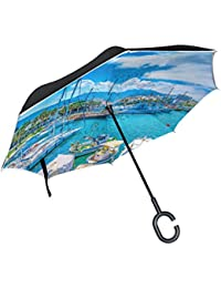 MyDaily Double Layer Inverted Umbrella Cars Reverse Umbrella Port Of Kos Island Greece Windproof UV Proof Travel Outdoor Umbrella