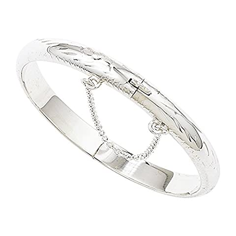 Sterling Silver 925 Diamond Cut Hinged Children's Baby Bangle