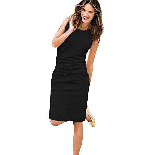 DAY.LIN Sommer Kleidung FüR Damen Damen Urlaub ärmelloses Sommerkleid Damen Sommer Strand lässig Partykleid (Schwarz, EU38 /L) (Urlaub Sweatshirts)