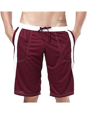 Honghu Hombre Loose Waist Rope Pantalones cortos Pant Tamaño L Marrón
