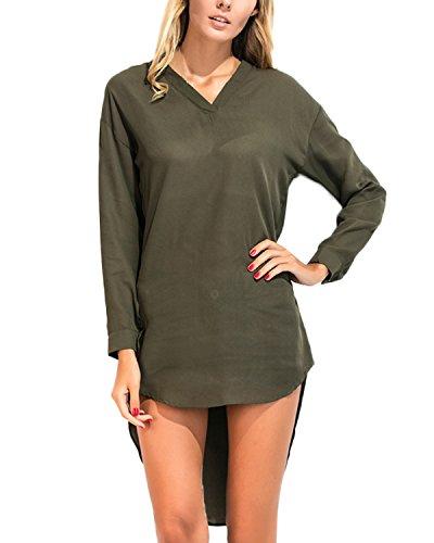 Auxo Damen Unregelmäßig V-Ausschnitt Chiffon Langarm Party T-Shirt Langshirt Tops Army Green