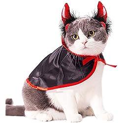 Legendog Disfraz de Gato, Disfraz de Halloween para Mascotas, Capa de Vampiro para Perros pequeños y Gatos (Capa de Vampiro + Cuerno)