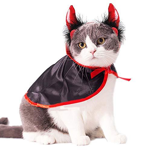 Legendog Halloween Pet Kostüme Niedlicher Cosplay-Vampir-Umhang Cape Dog Cap mit Cosplay-Hörnern (Halloween Dog Kostüm Vampire)