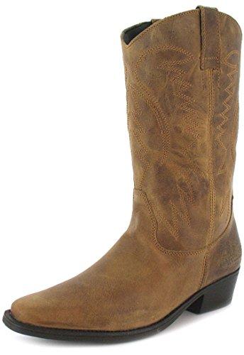 Wrangler Tex Hi - Herren Männer Cowboy Stiefel Zum Hineinschlüpfen - Braun, EU 45 (Männer Cowboy-stiefel)