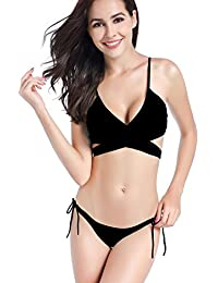 4de1be3b77669 SAYFUT Women Solid Bikini Set Split Bandeau with Bowknot Bandage Top Push Up  Strappy Bottom Swimwear