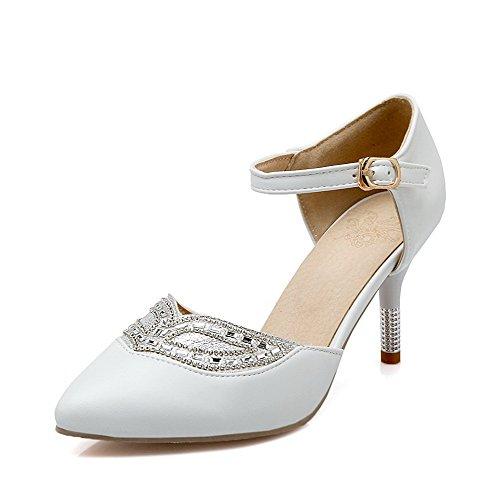 AllhqFashion Femme Pu Cuir à Talon Haut Pointu Mosaïque Boucle Chaussures Légeres Blanc