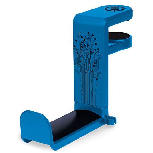 ENHANCE Support Crochet pour Casques de Jeu ou de Musique avec Bras Pivotant à 360°, Pince de Fixation Format Universel pour Table et Bureau avec Rangement pour Câble Intégré – Bleu