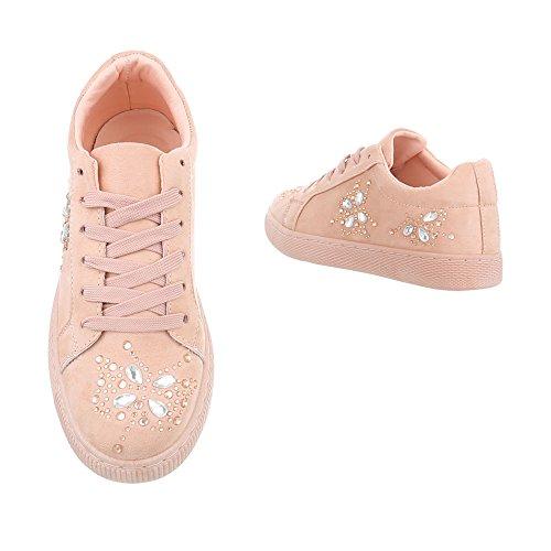 Scarpe da donna Mocassini piatto Sacrpe con Laccio Ital-Design rosa AB-184
