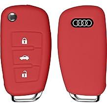PhoneNatic Funda de silicona para mando de 3 botones de Audi A3 en rojo Llave plegable de 3-Key
