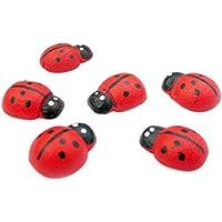 Gosear 100 Piezas Mini Madera Rojo Auta-Adhesivo Siete Manchas Mariquitas en Forma de Mariquitas para Jardín Paisaje Micro Adorno Decoración