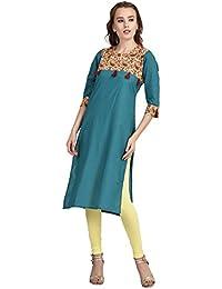 Indi Dori Women Cotton Turquoise Printed Tussle Yoke Kurti