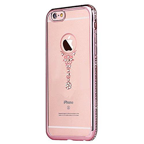 iPhone 6sPlus Custodia Sveglio, Soft TPU Gel Cover per iPhone 6Plus, MAOOY Shell Placcatura Edge in Lucido di Cristallo di Scintillio Strass Shock Absorption Protettiva Trasparente Ultra Sottile Chic  Cristallo in Oro Rosa