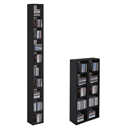 Etagère colonne MUSIQUE modulable empilable CD et DVD panneaux MDF décor noir mat