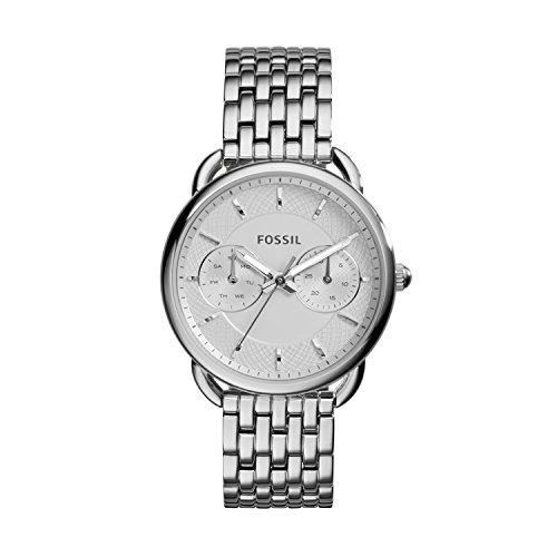 Fossil Tailor Damen Armbanduhr aus Edelstahl | Handgelenk Uhr inkl. Wochentags- & Datumsanzeige - wasserfestes, analoges Quarzuhrwerk mit Zeiger