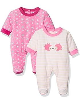 Twins Baby-Mädchen Velours Schlafstrampler mit Igel-Print im 2er Pack