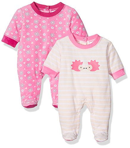 Twins Baby-Mädchen Velours Schlafstrampler mit Igel-Print im 2er Pack, Mehrfarbig (Mehrfarbig 3200), 62