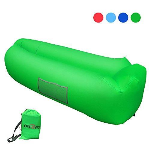Aufblasbares Sofa iRegro tragbarer aufblasbarer Sitzsack mit integriertem Kissen und integriertem Seitentaschen, wasserdichtes air Lounger aufblasbare couch Outdoor Sofa aufblasbar für Camping, Park, Strand, Hinterhof (grün)