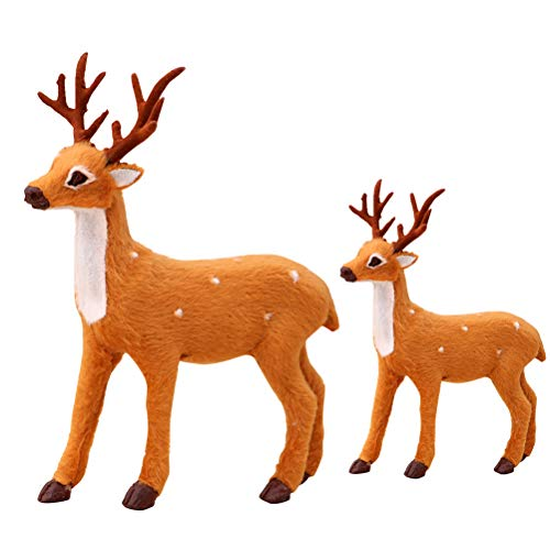 NUOBESTY 2 PC /Set Simulation Sika Deers Standing Lovely Plush Lifelike Photo Props Table Top Ornaments Rentier for Office Shop Home