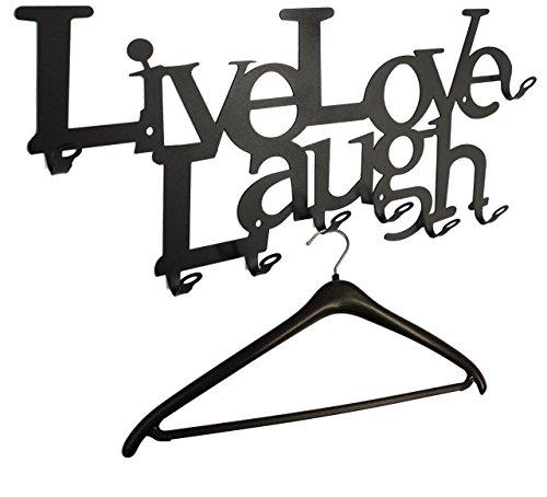 Live Love Laugh - Wandgarderobe 58 cm - das Original, Garderobe, Flurgarderobe 8 Haken - Lebe Liebe Lache (schwarz)