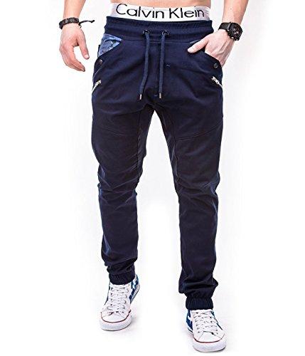 Betterstylz MasonBZ Chino Jogger Pantaloni Uomo Style Jogger Pant diff. colori (S-XXL) (L, Blu/Blue Camo/Zip)