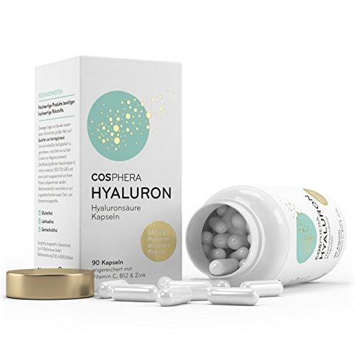 Hyaluronsäure Kapseln – Hochdosiert mit 350 mg pro Kapsel. 90 vegane Kapseln im 3 Monatsvorrat – 500-700 kDa – Angereichert mit Vitamin C, B12 und Zink – Für Haut, Anti-Aging und Gelenke – Cosphera - 4