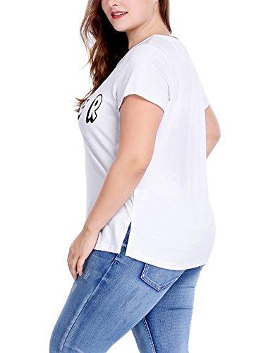 Sourcingmap Agnes Orinda Femmes Grande Taille Symbole Paix Doigts Lettre Imprime T-Shirt Col Rond white
