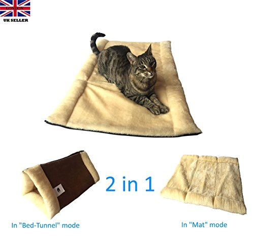 """The Original KittyKave Deluxe - Luxurious 35"""" x 23"""" (2 in 1) Cat Mat and Bed - Tunnel. It's The Purr-fect Large Cat Mat and Cat Bed/Tunnel with cosy warm Thermal Insulation layers, it's Machine Washable, Easy to Store and Keeps fur off your Furr-niture!"""