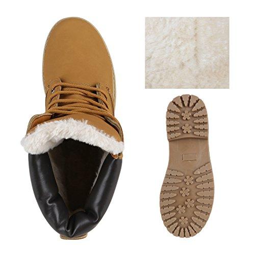 Stiefelparadies Warm Gefütterte Damen Stiefeletten Worker Boots Kunstfell Flandell Hellbraun Avelar