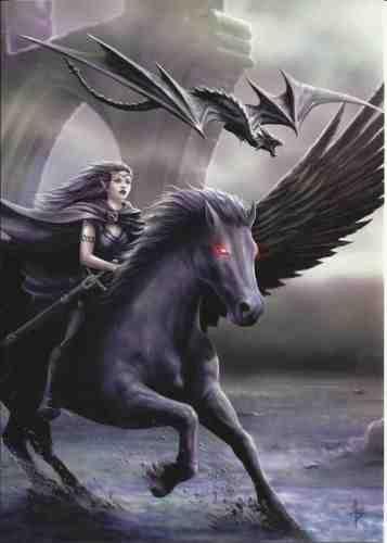 Realm of Darkness-Gothic Engel Angel & Schwarz Pferd mit Dragon Grußkarte mit gemusterten Umschlag-by Anne Stokes-blanko für eigene Nachricht und jeden Anlass (Nachrichten Engel-karten Dem Aus)
